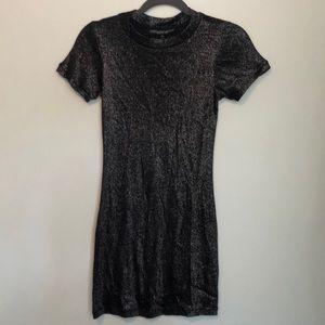 Shimmer short sleeve party dress.